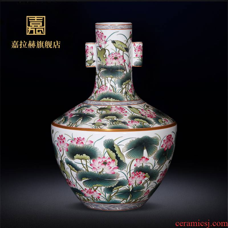 Master jia lage jingdezhen ceramics YangShiQi antique hand - made bucket color lotus pattern penetration ears key-2 luxury furnishing articles