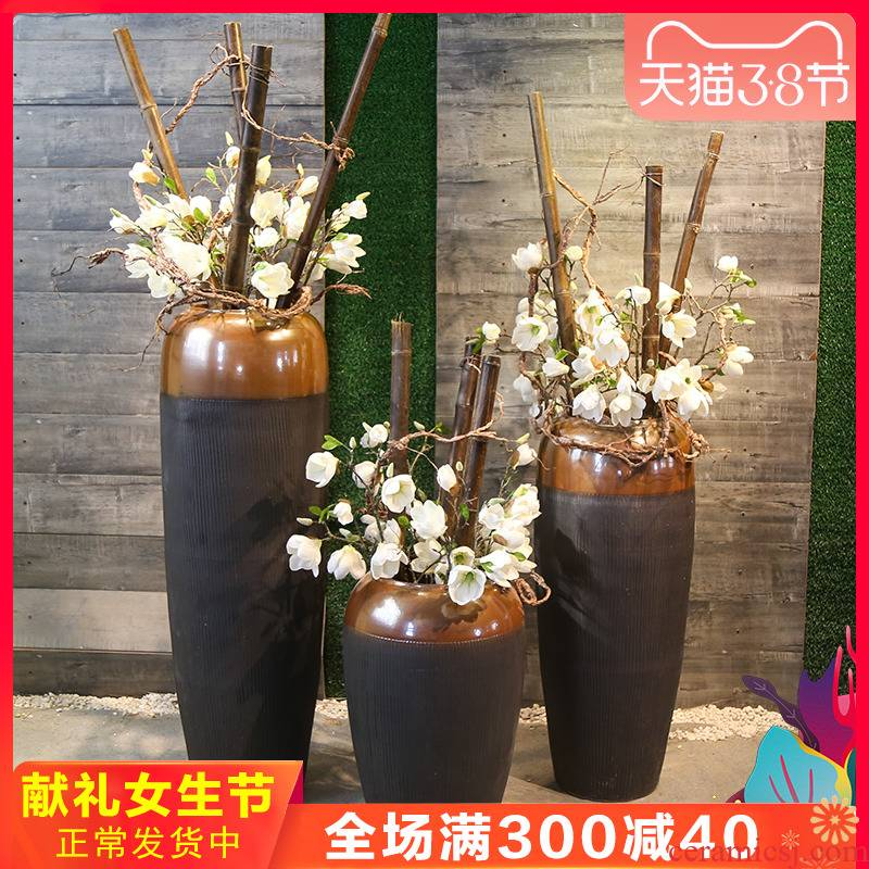 Jingdezhen coarse pottery restoring ancient ways of large pottery vase sitting room home furnishing articles ceramic flower arranging new Chinese style decoration