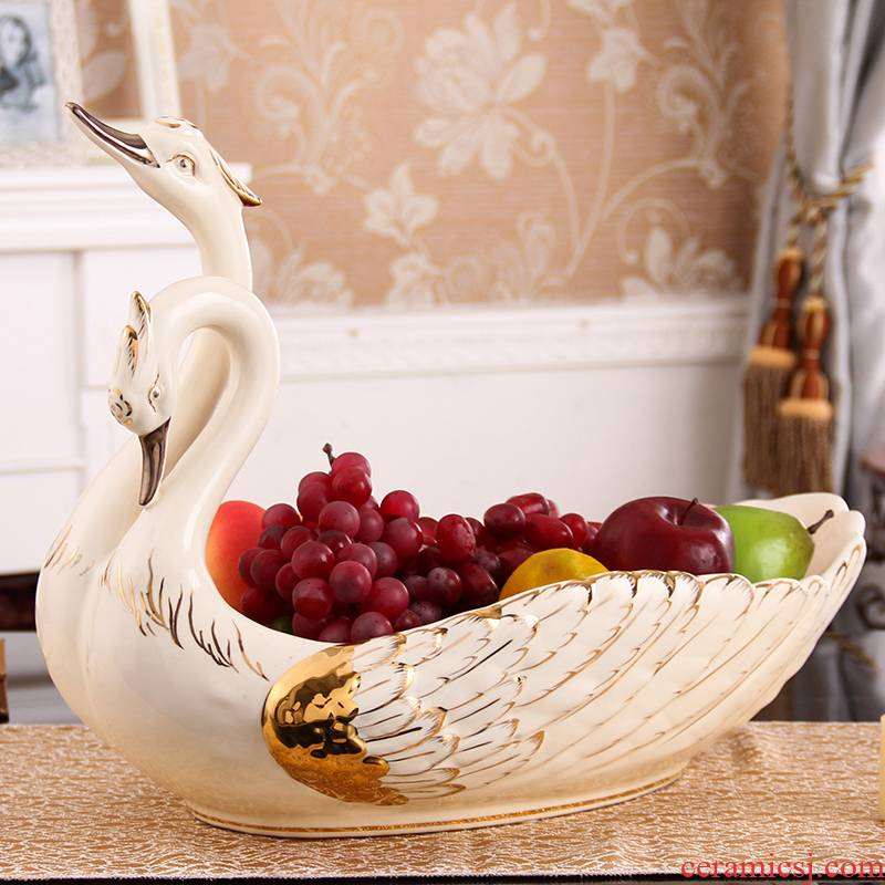 Large key-2 luxury European - style compote furnishing articles creative household porcelain swan sitting room tea table fruit bowl housewarming gift
