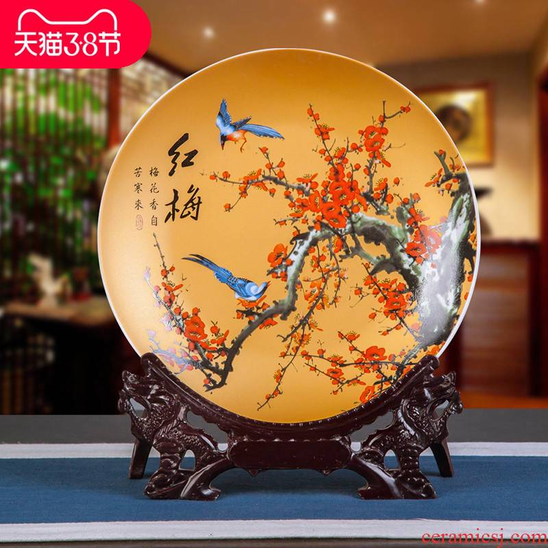 Jingdezhen blue and white porcelain ceramics powder enamel decoration hanging dish furnishing articles modern fashion faceplate household act the role ofing is tasted by the dishes