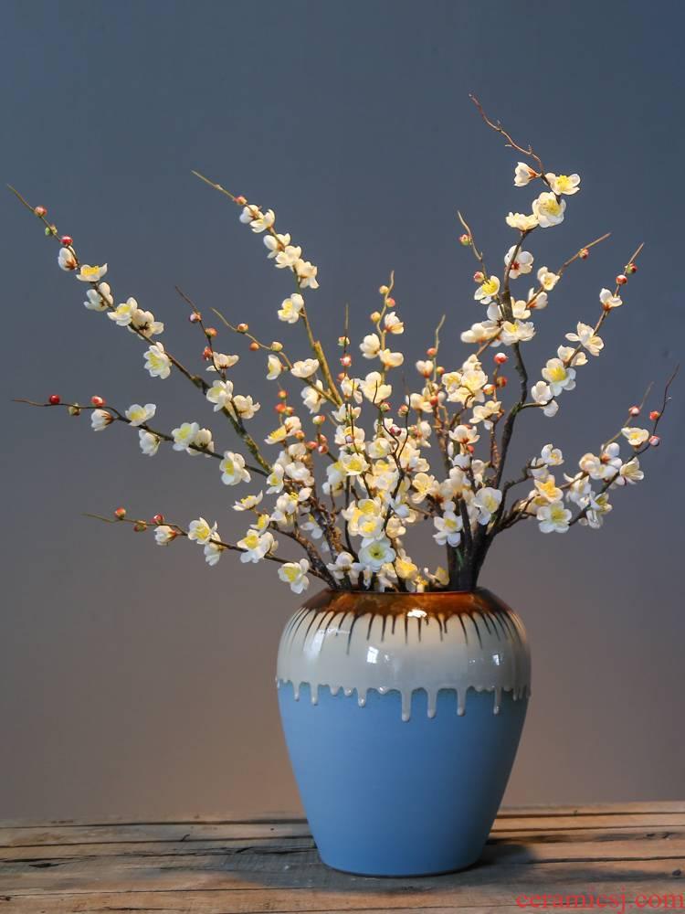 Jingdezhen up with retro nostalgia sitting room big vase mesa flower ceramic flower implement simulation flower decoration big furnishing articles