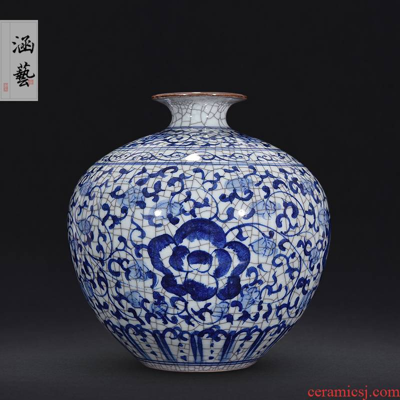 Jingdezhen ceramics up archaize crack do old blue and white hand - made vases, Chinese style decorates porch place, a living room