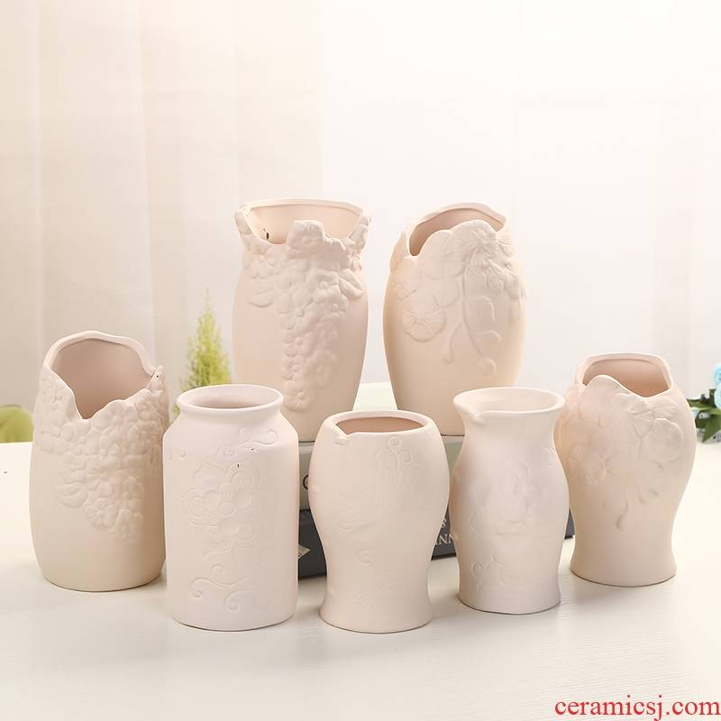 Flowerpot ceramic grain embryo, fleshy meat green plant can be artificial painting diy hand breathable potted flower pot