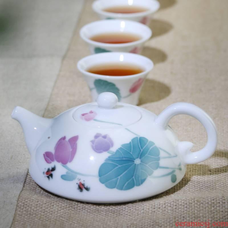 Liling ceramic kung fu tea set under the glaze color of a complete set of tea ware gift practical sample tea cup set 1 pot of 6 people