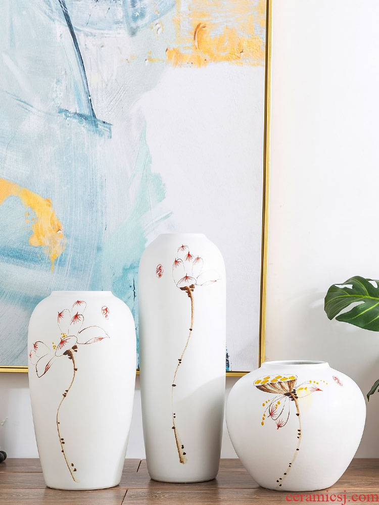 Jingdezhen ceramic vase furnishing articles contracted and I sitting room creative flower arrangement of new Chinese style flower grain dry flower decoration