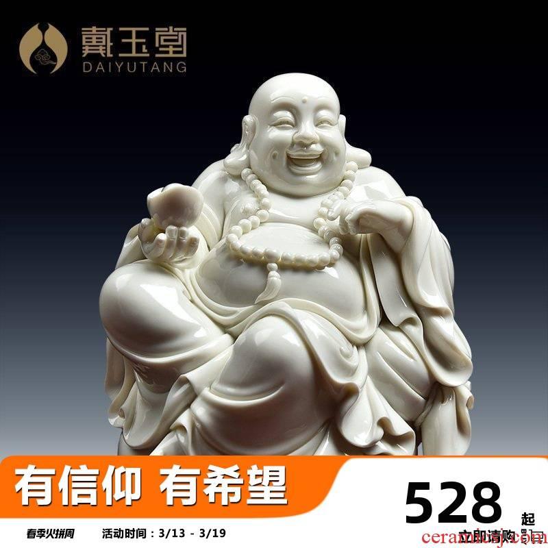 Yutang dai desktop furnishing articles dehua white porcelain ceramic sitting room office laughing Buddha maitreya D20-23/cloth bag