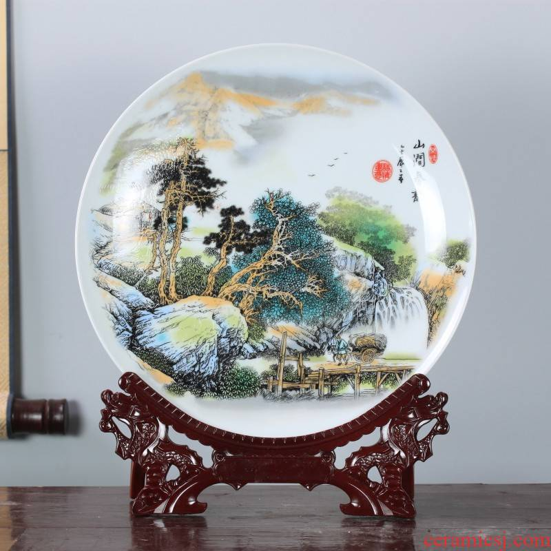 Jingdezhen ceramic pastel landscape decoration plate of Chinese style household living room TV cabinet wine porch hang dish furnishing articles