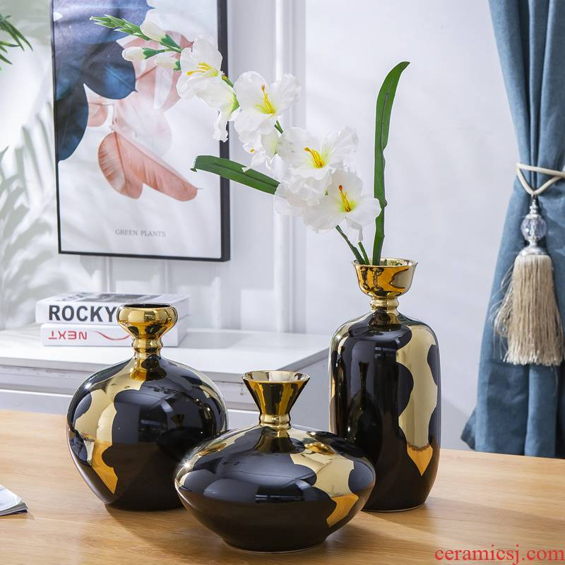 Jingdezhen ceramic vase furnishing articles Nordic dried flowers sitting room adornment flower arrangement table light key-2 luxury European - style of new Chinese style flowers