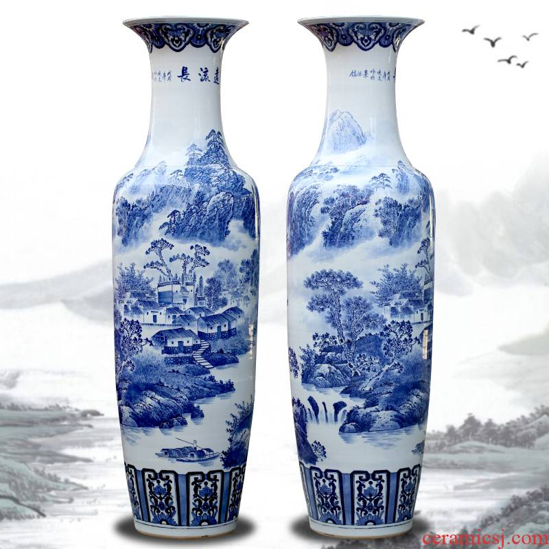 Jingdezhen ceramic floor big hand blue and white porcelain vase furnishing articles sitting room large landscape painting porcelain hotel decoration