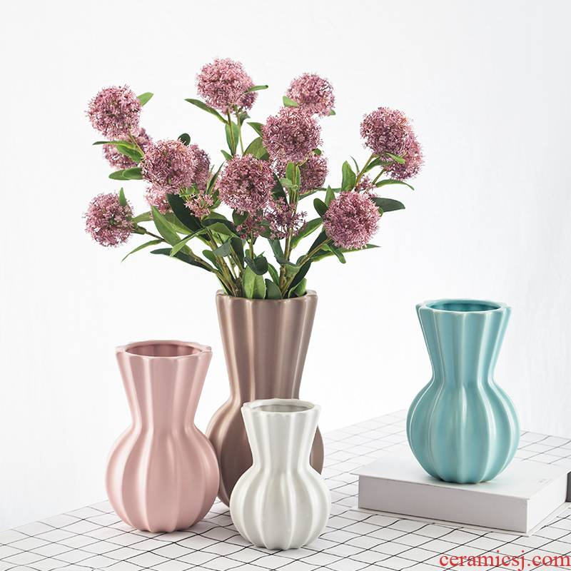 Creative small ceramic flower vases fresh Nordic wind office desktop floret bottle furnishing articles hydroponic money plant flowers