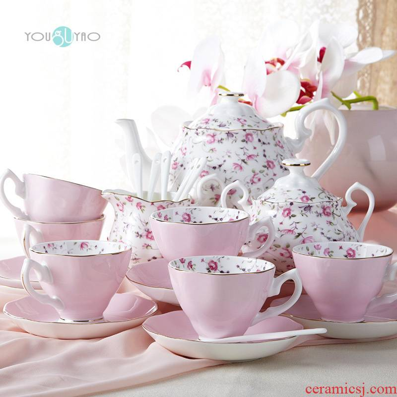 European style coffee English afternoon tea set household gift ipads China English cups and saucers coffee cup set