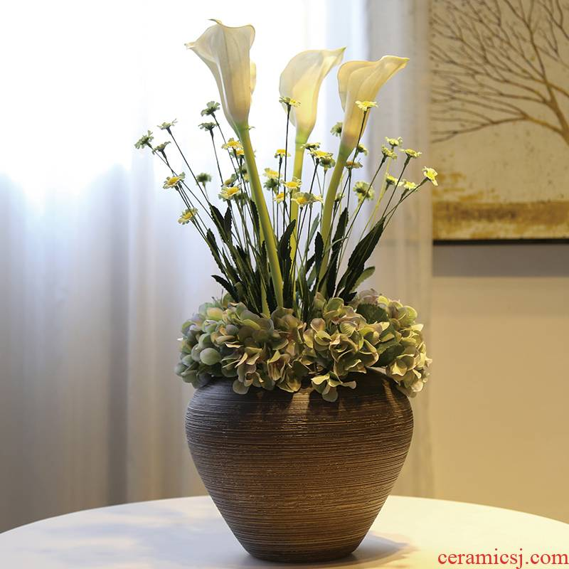 Jingdezhen ceramic coarse pottery retro black black mesa decoration decorative vase simulation flower flower flower implement suit furnishing articles