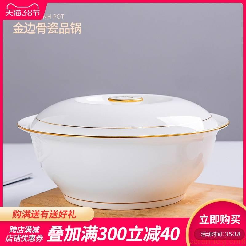 Jingdezhen with cover round ceramic soup pot pot ipads China up phnom penh soup pot creative large - sized domestic large bowl of soup bowl