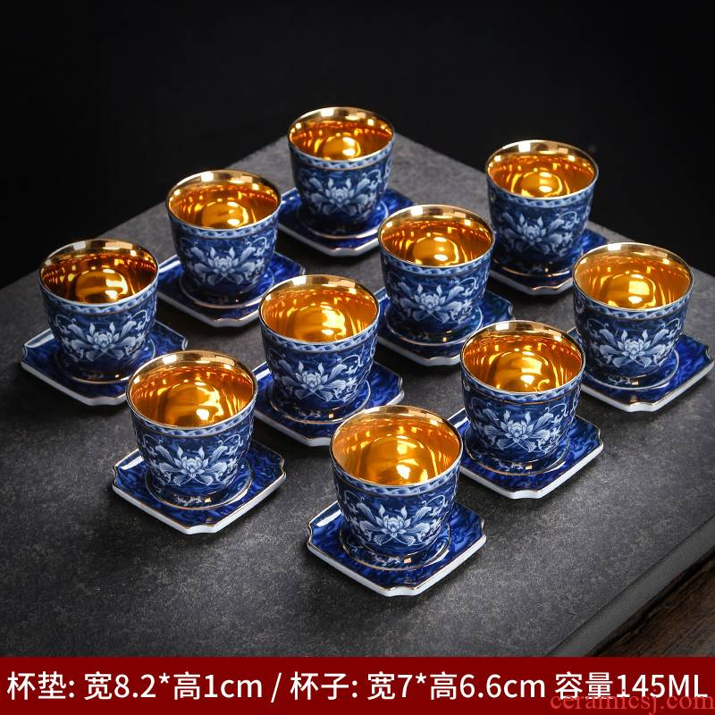 Kung fu tea cups of jingdezhen ceramic cup with single with blue water home tea cups of tea cup cup mat