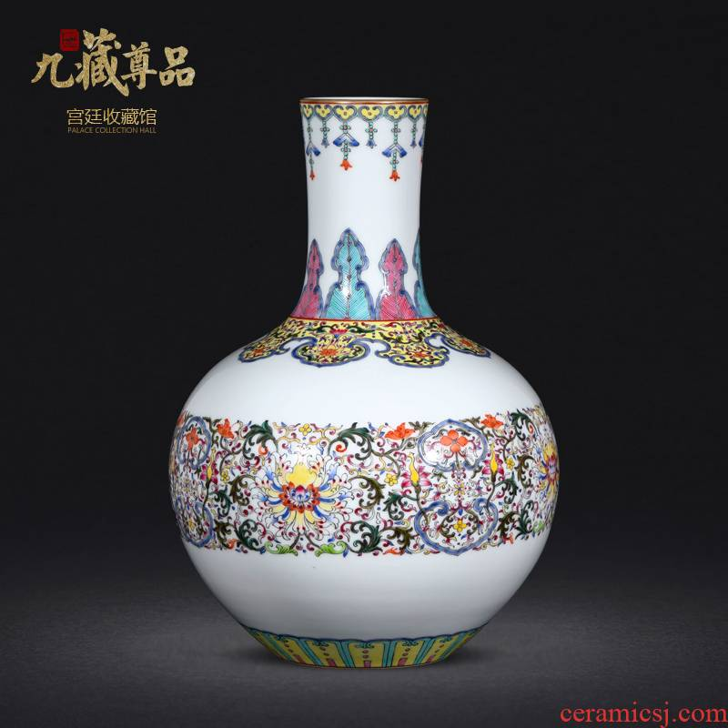 Jingdezhen antique hand - made bound branch lotus tree porcelain enamel made pottery porcelain vases decorative furnishing articles in the living room