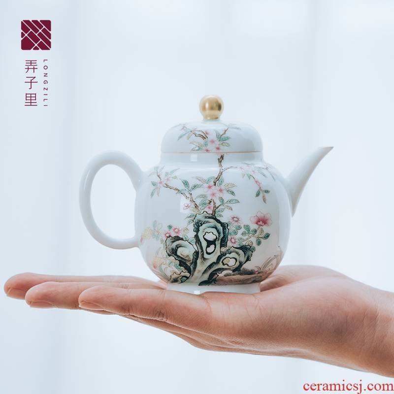 Get in white porcelain kung fu tea teapot pure manual hand - made ShaTang big palace the lantern of violet arenaceous glass pot of flowers