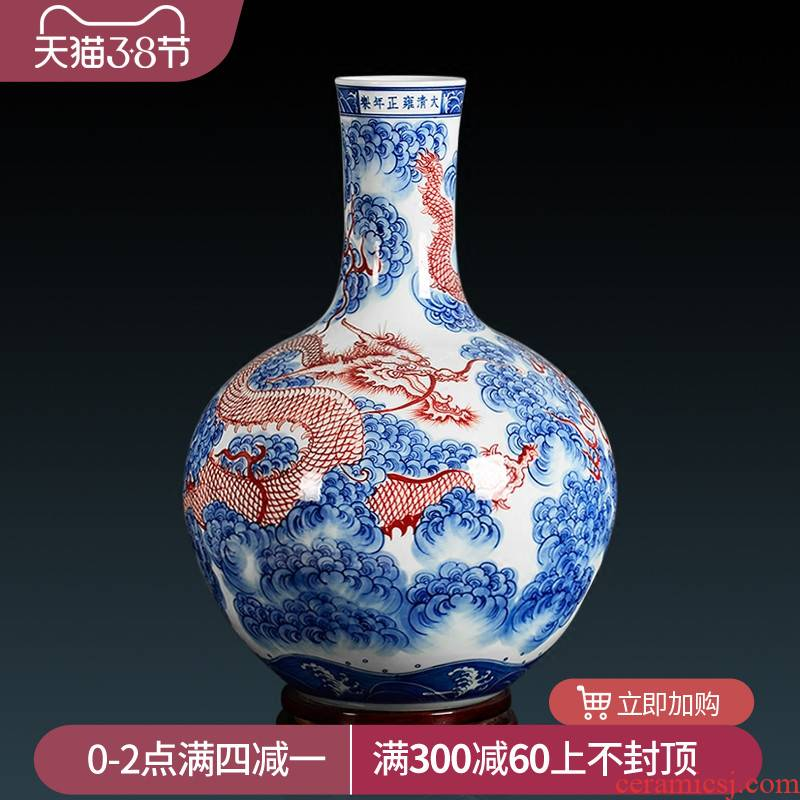Jingdezhen blue and white youligong archaize yongzheng hand - made vases seawater YunLongWen celestial sitting room adornment is placed