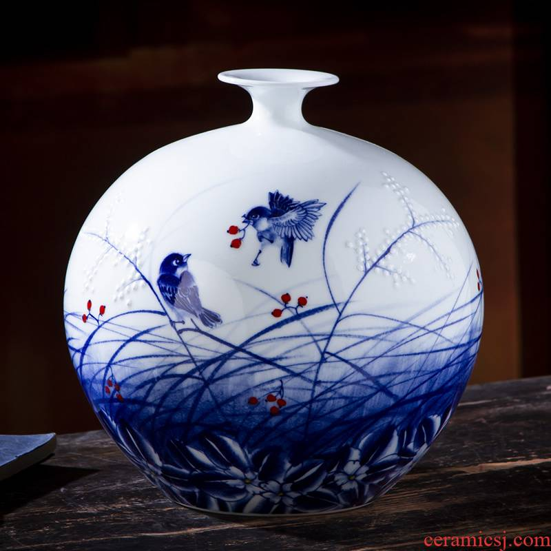 Jingdezhen ceramic vase furnishing articles by hand - made the sitting room of Chinese style household adornment flower arranging rich ancient frame handicraft