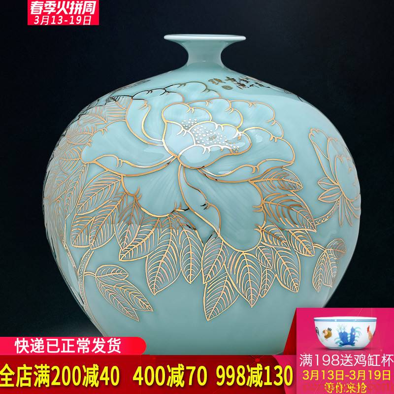 The Master of jingdezhen ceramic hand - made vases, blue glaze see pomegranate sitting room adornment is placed large bottles of Chinese style carving