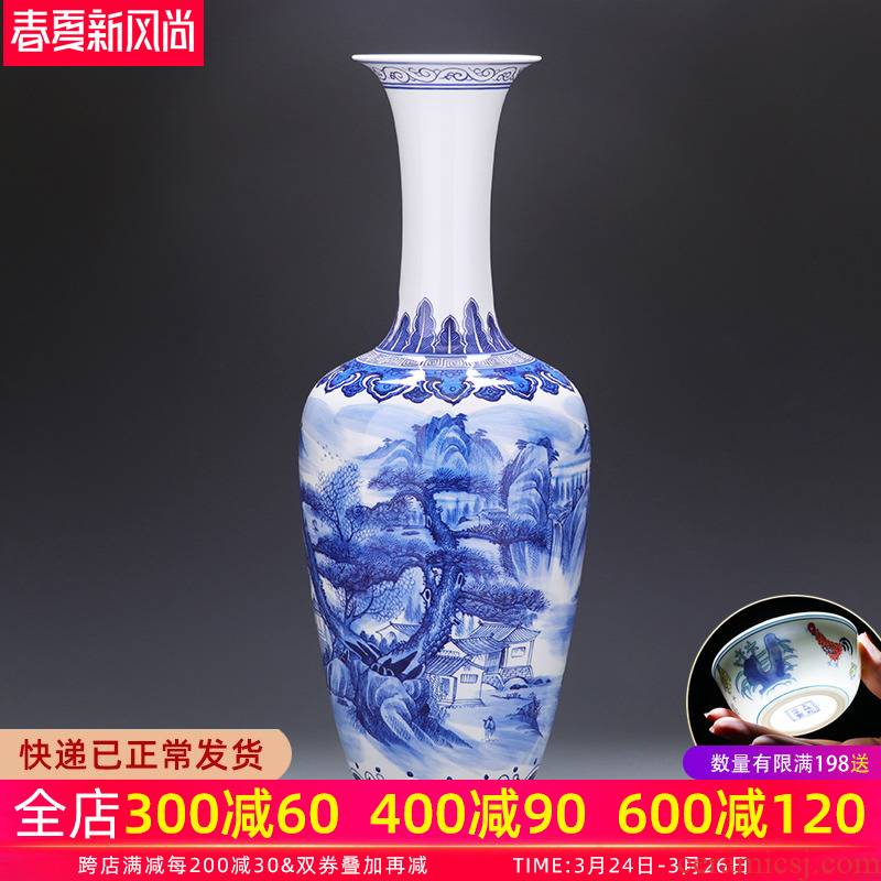 Jingdezhen ceramics of large vase large hand - made scenery of blue and white porcelain porcelain home furnishing articles