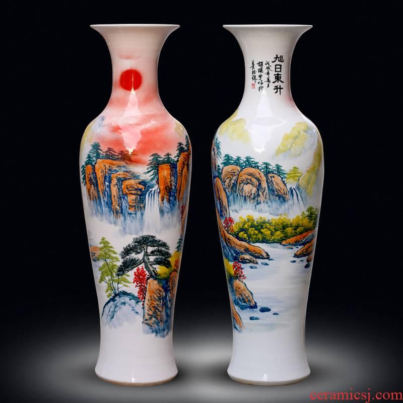 Jingdezhen ceramics of large vases, new Chinese style living room large hand - made the sunrise hotel gift furnishing articles