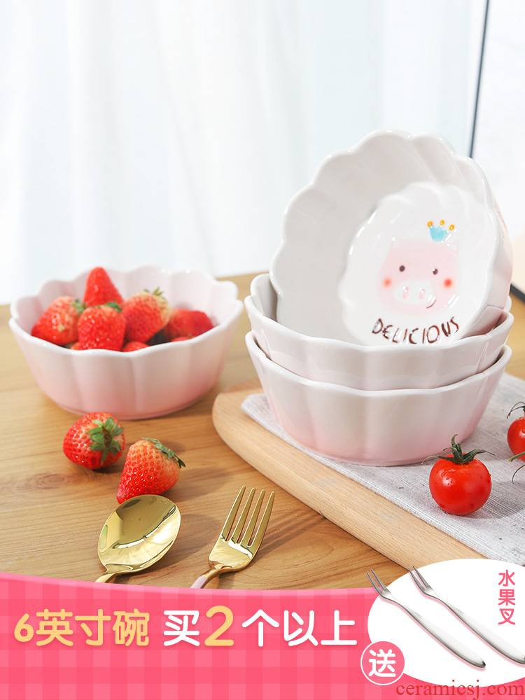 Pig web celebrity creative individual student Japanese tableware ceramic fruit salad bowl noodles rice soup bowl home lovely move