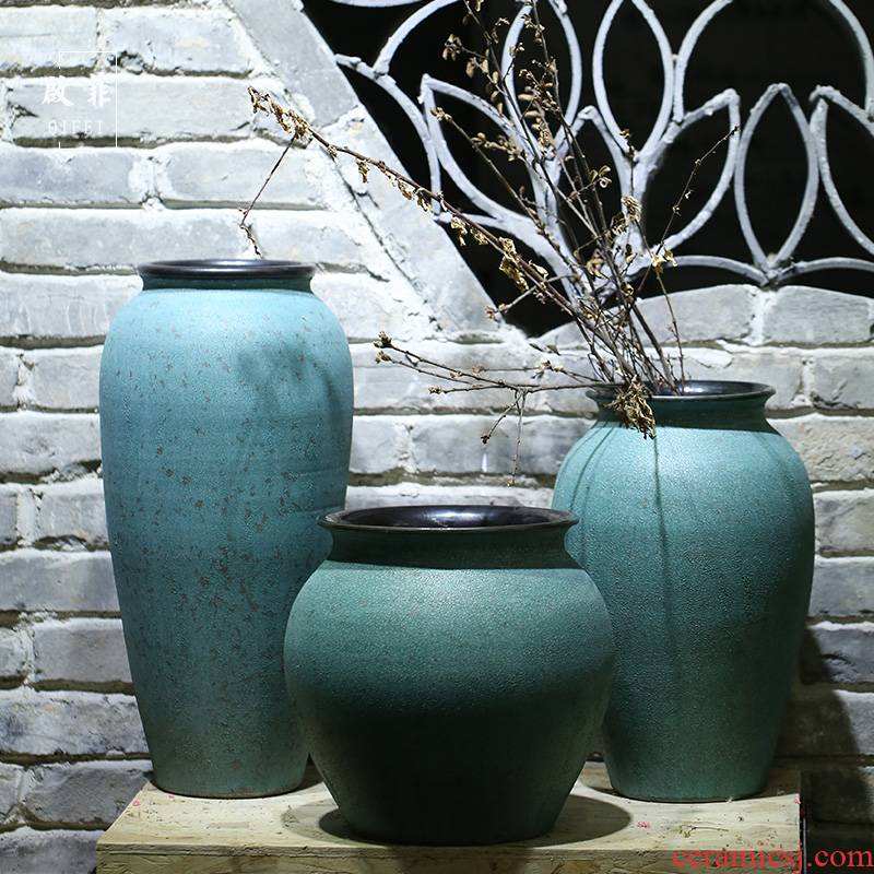 Jingdezhen vase sitting room of I and contracted to heavy flower arranging flower implement coarse some ceramic pot home decoration ceramic furnishing articles