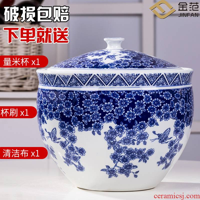 Jingdezhen ceramic barrel ricer box with cover 20 jins with household moistureproof insect - resistant storage tank tank cylinder 10 jins