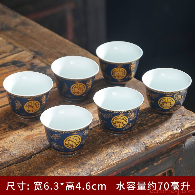 Blue and white porcelain household anti kung fu tea cup hot tea cup small single cup tea cup single master cup ceramic sample tea cup