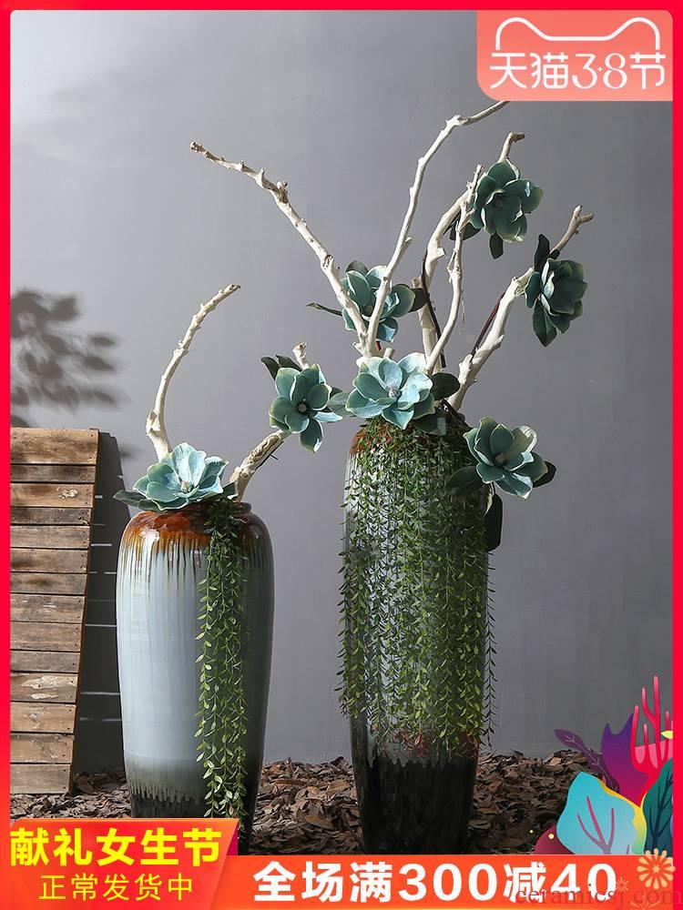 Jingdezhen ceramic floor big sitting room place simulation vase floral household decoration porch decoration
