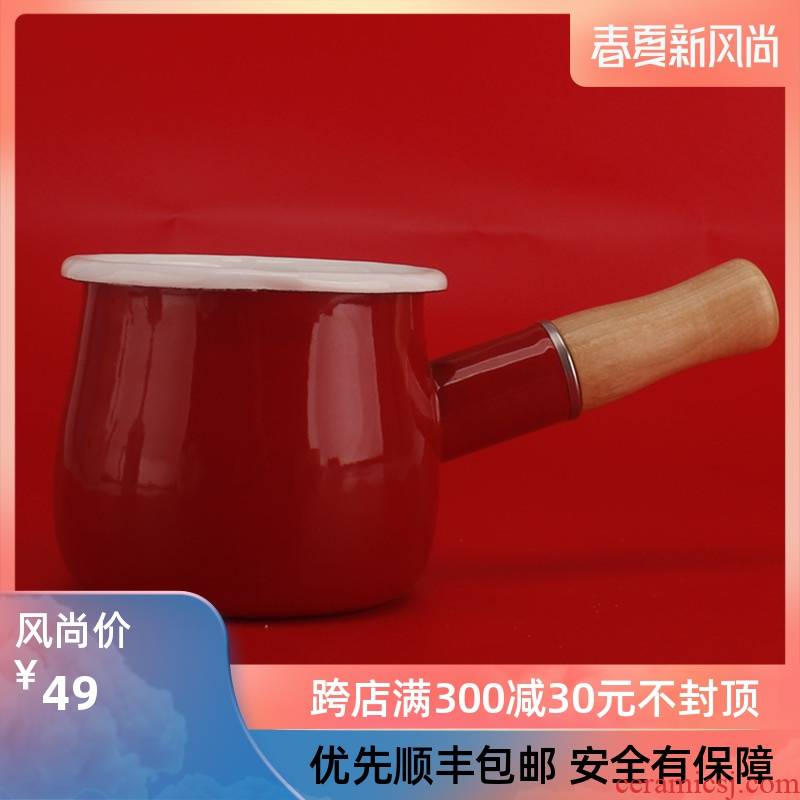10 cm mini double expressions using single handle milk pot enamel pan with butter consisting pan handle baby home