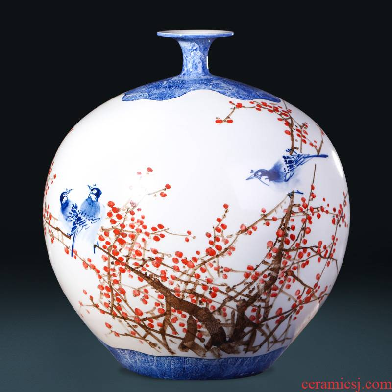 Jingdezhen ceramics famous beaming pomegranate hand - made vases, large sitting room adornment of new Chinese style furnishing articles