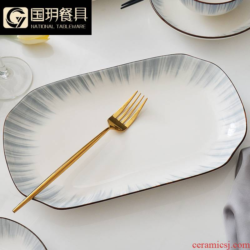 Ceramic dish fish platter household creative new Nordic steamed fish 0 suits for the small and pure and fresh