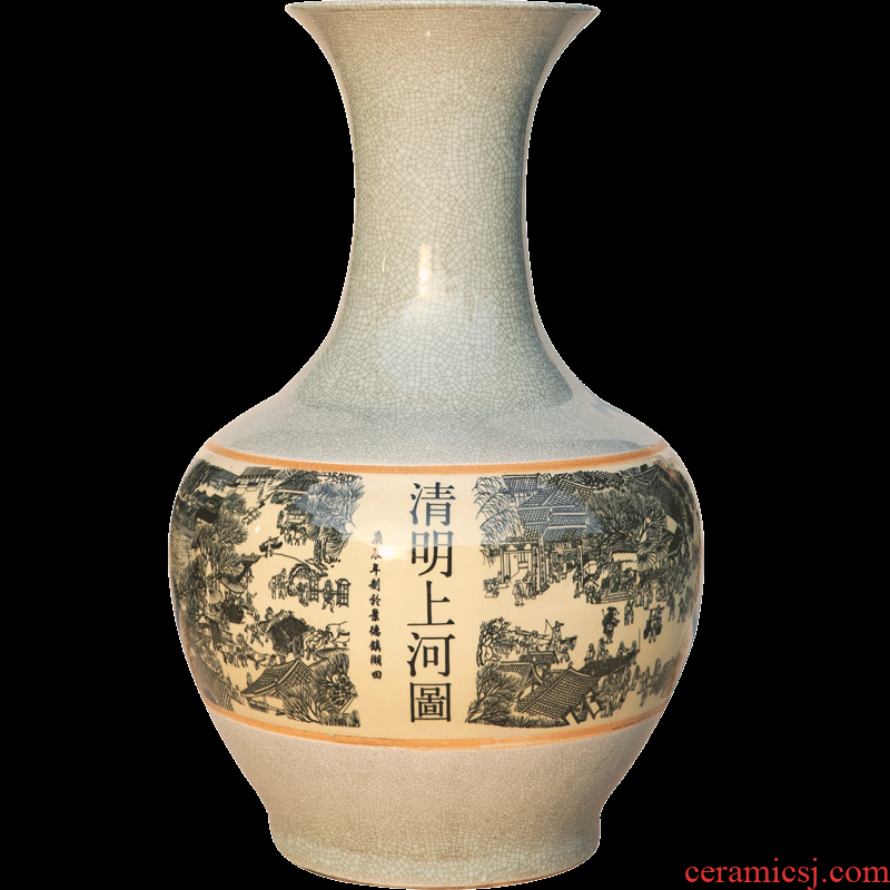 Jingdezhen ceramics of large Chinese antique vase crackle on the design clear painting the living room