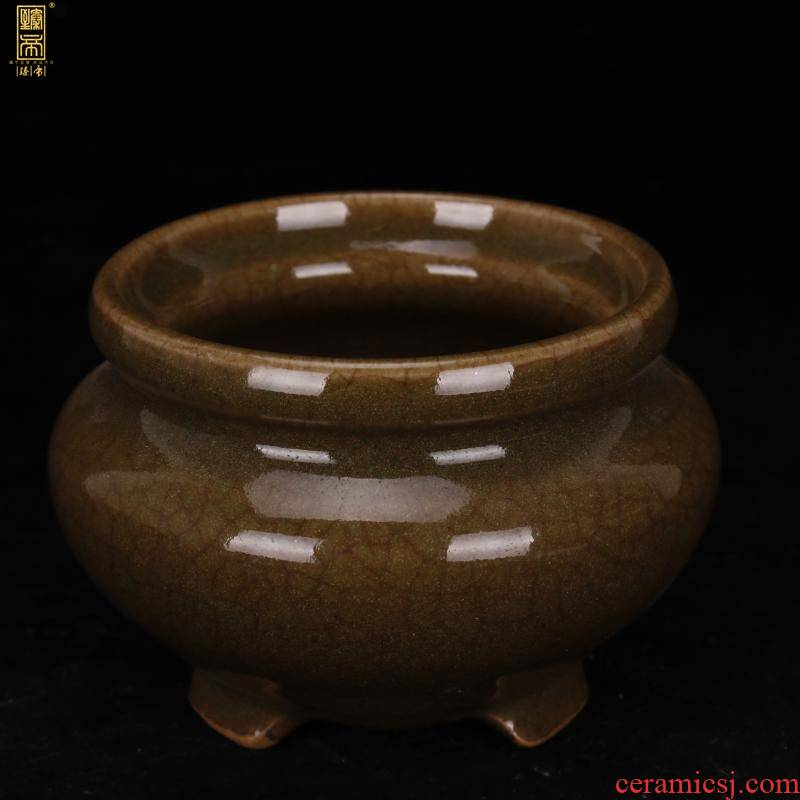Jingdezhen ceramic antique imitation of the warring states period, the up celadon what open crack three - legged censer for collection furnishing articles