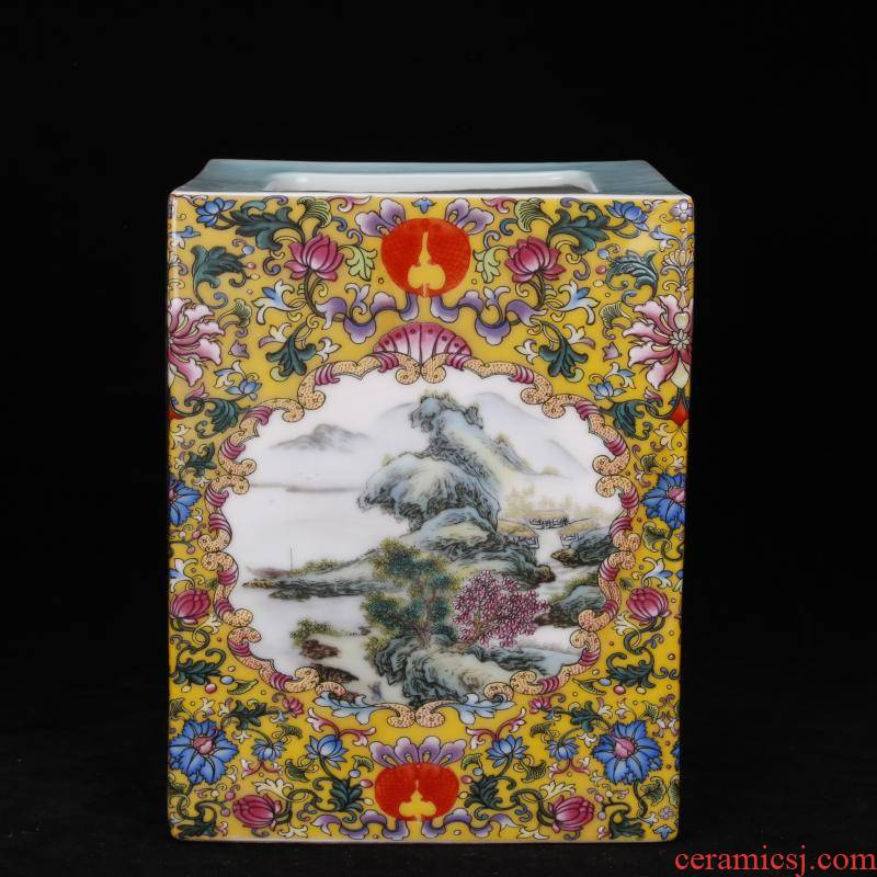 "Archaize of jingdezhen porcelain yongzheng colored enamel landscape square big brush pot ""four desk pen sea Chinese antique furnishing articles"