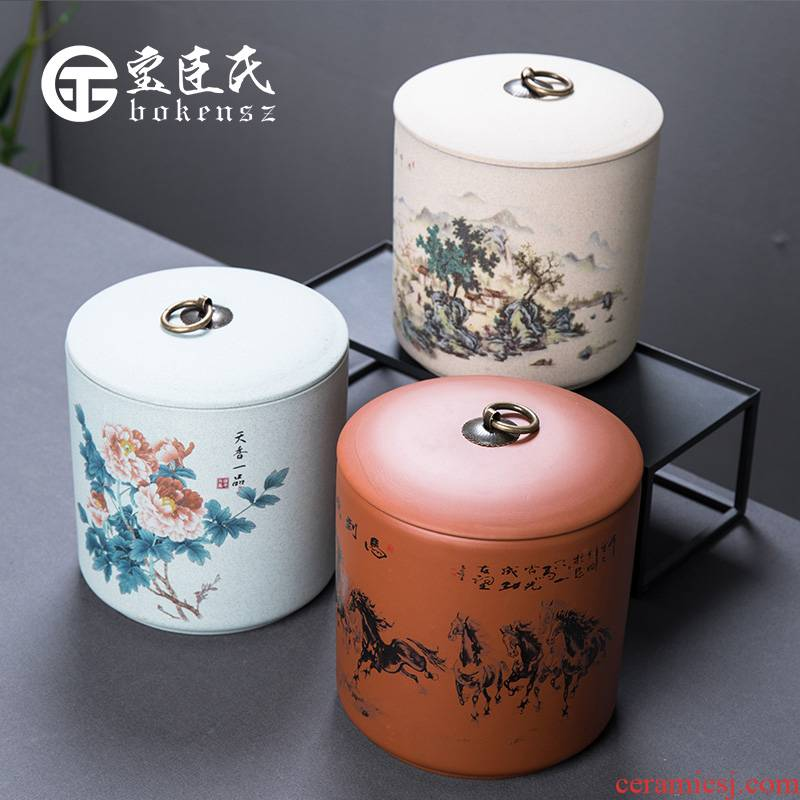 Treasure minister 's violet arenaceous caddy fixings to one and a half jins of large - sized ceramic POTS awake pu' er tea boxes sealed storage tank