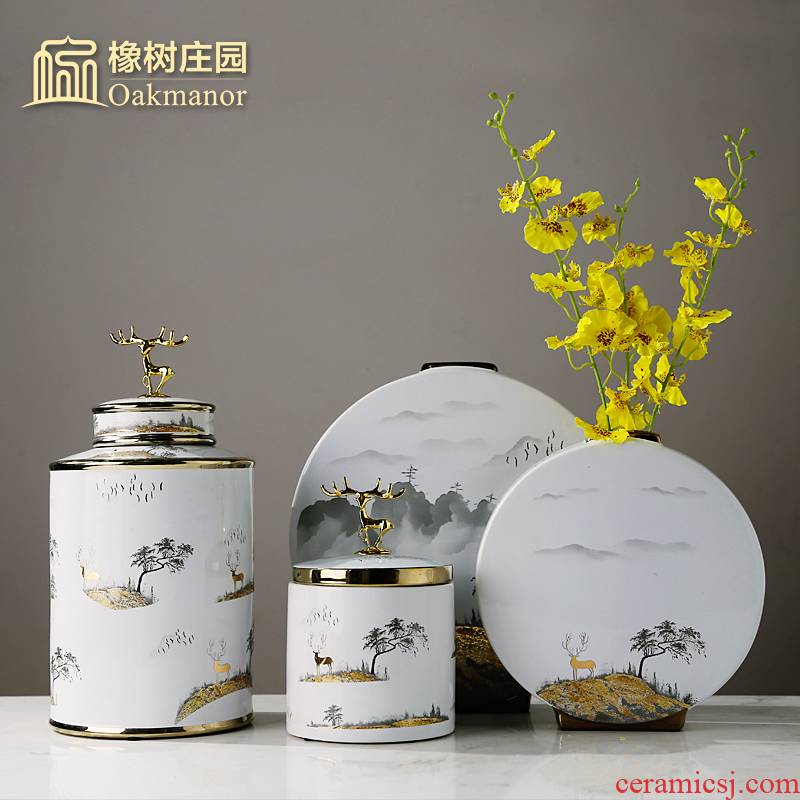 Chinese wind light table vase key-2 luxury furnishing articles of Chinese style household soft outfit the sitting room porch dried flower arranging flowers, ceramic decoration