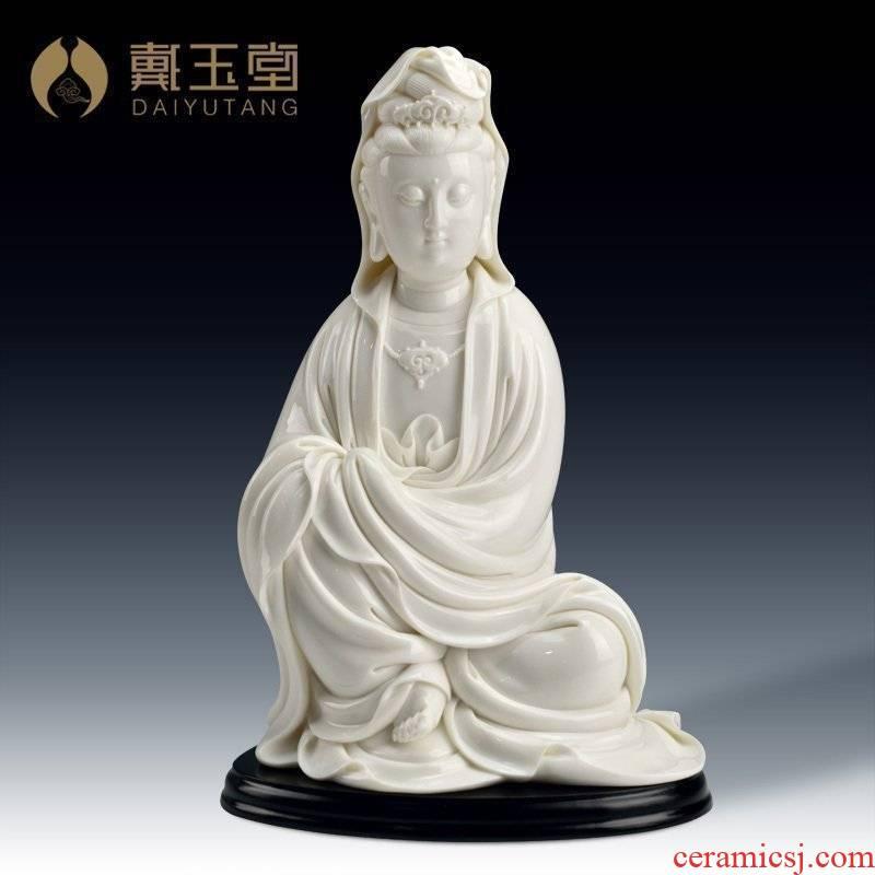 Yutang dai Lin Luyang furnishing articles master porcelain art collection of white marble Buddha avalokiteshvara/sitting guanyin