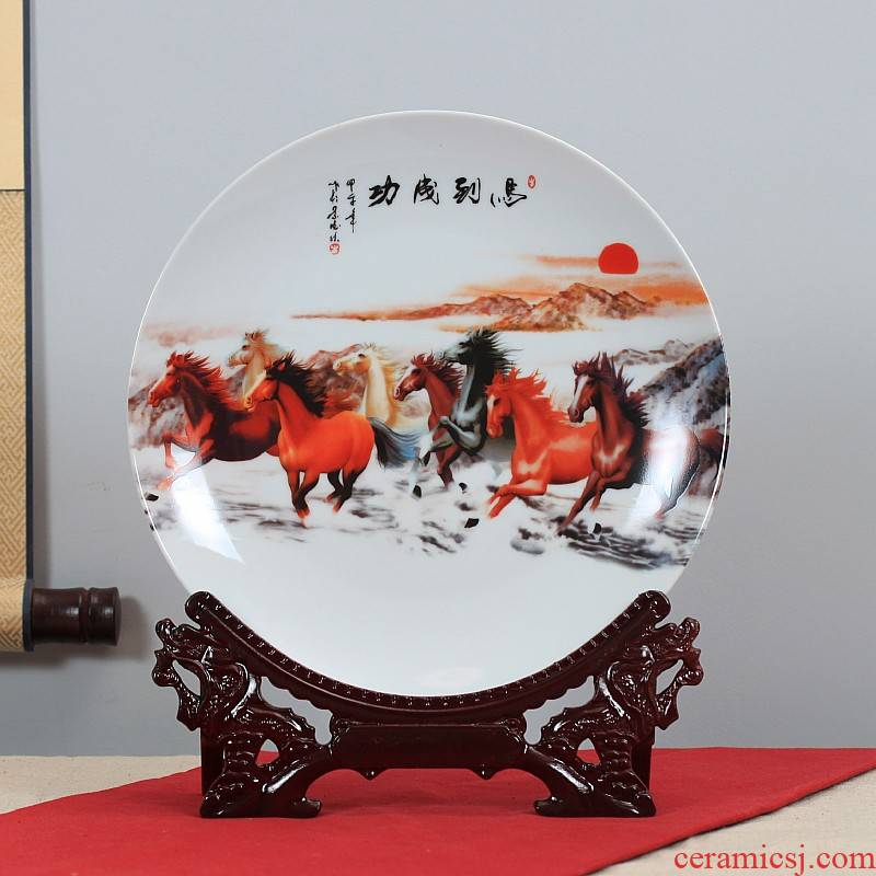 Jingdezhen ceramics powder enamel hang dish sit home background plate decoration plate decoration furnishing articles