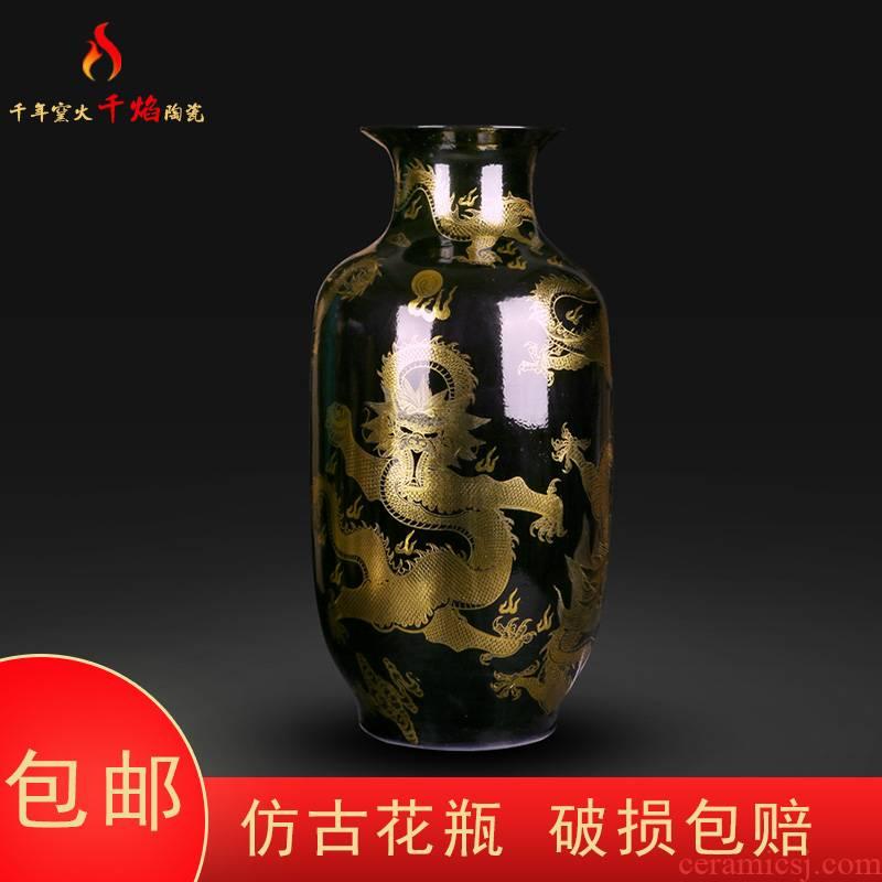 Jingdezhen ceramic vase, black paint dragon flower arrangement of modern Chinese style household flower arrangement sitting room TV ark, furnishing articles