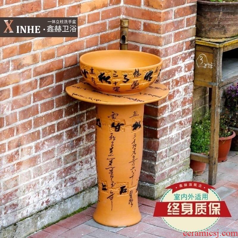 The sink carved hand - made ceramic basin pillar type commode pool one floor balcony art basin of vertical column
