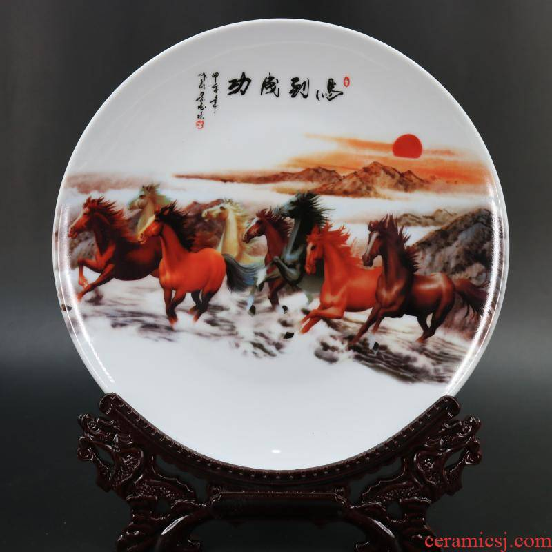 Archaize of jingdezhen porcelain the qing qianlong new horse to successful map porcelain plate of Chinese style restoring ancient ways household adornment furnishing articles