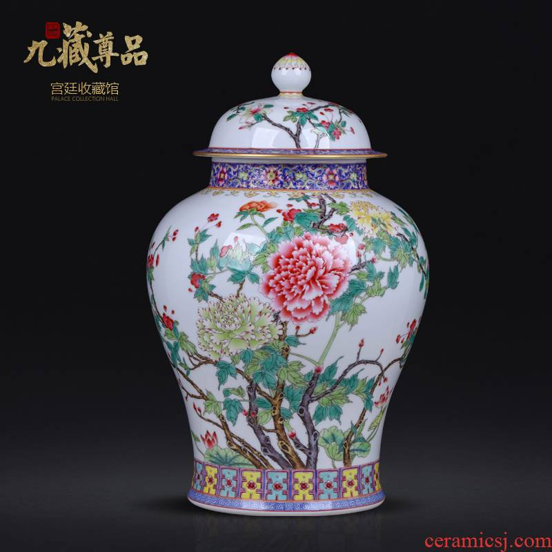 Jingdezhen ceramics antique hand - made general colored enamel pot Chinese style living room TV cabinet porch is decorated furnishing articles