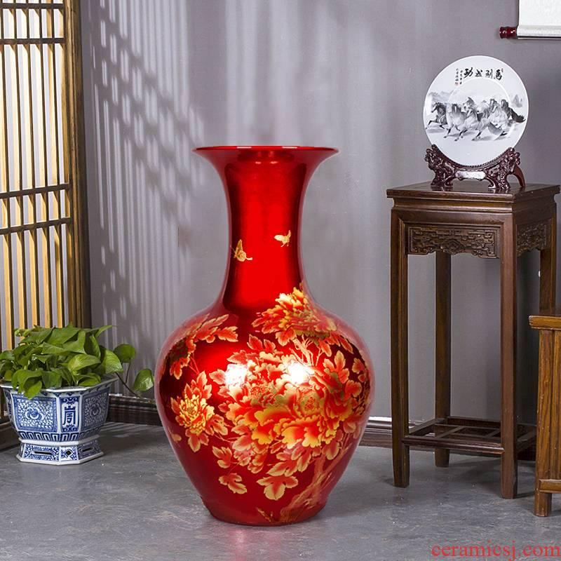 Jingdezhen ceramics China red crystal glaze of large vases, modern living room home decoration handicraft furnishing articles
