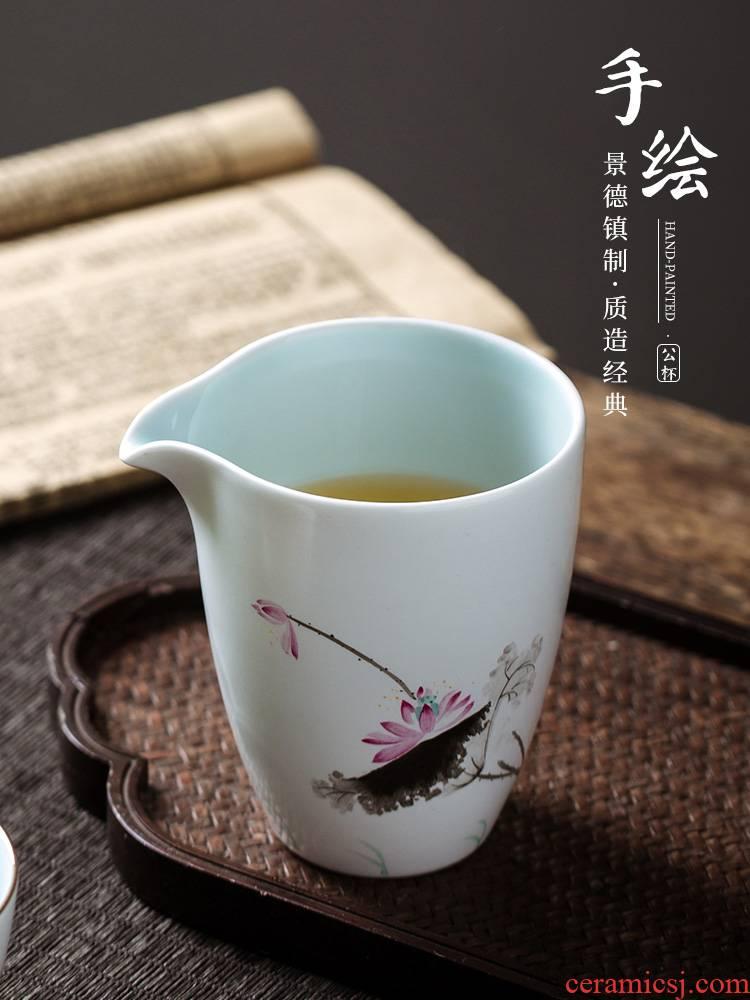 Jingdezhen hand - made pastel ceramic fair keller large sea points tea kungfu tea set celadon tea accessories