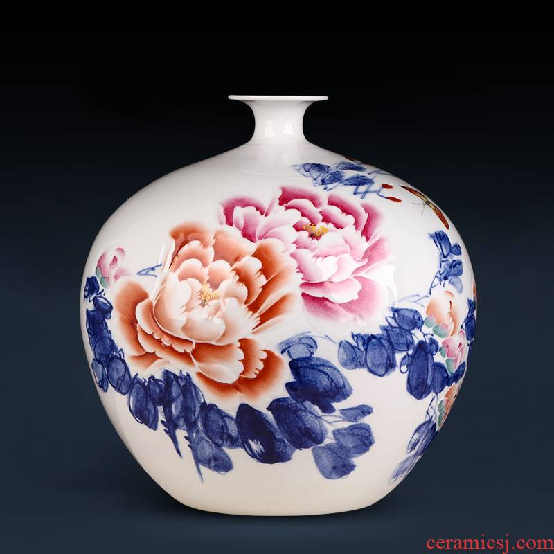 Jingdezhen ceramics masters hand made peony pomegranate vase Chinese style household adornment sitting room porch ark, furnishing articles