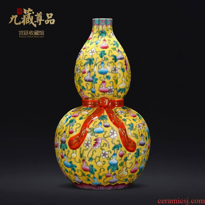 The Qing qianlong yellow scramble for colored enamel live ten thousand generation ribbon gourd bottle of jingdezhen ceramic vase furnishing articles sitting room