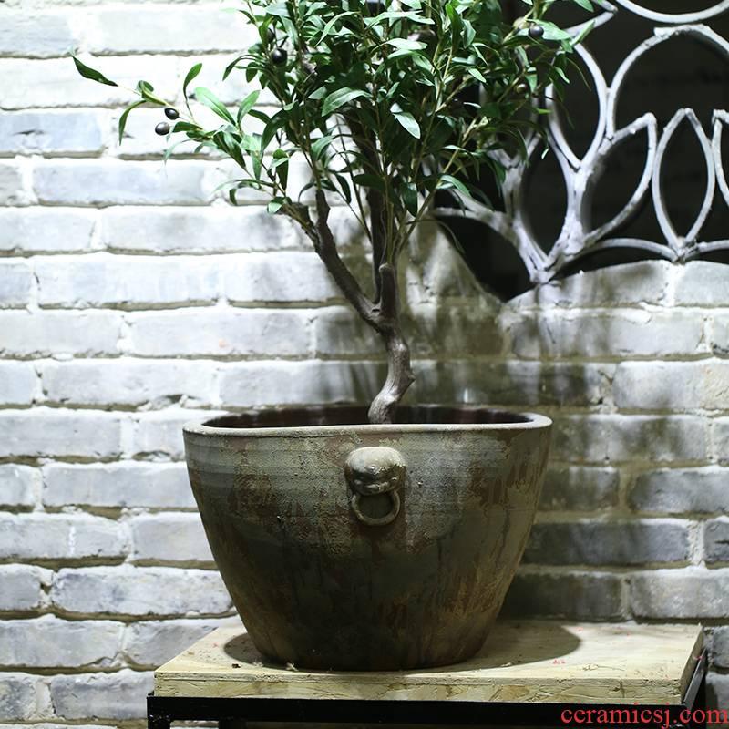 "Jingdezhen ""lion"" new Chinese style of large ceramic aquarium lotus courtyard garden tank big flowerpot furnishing articles"