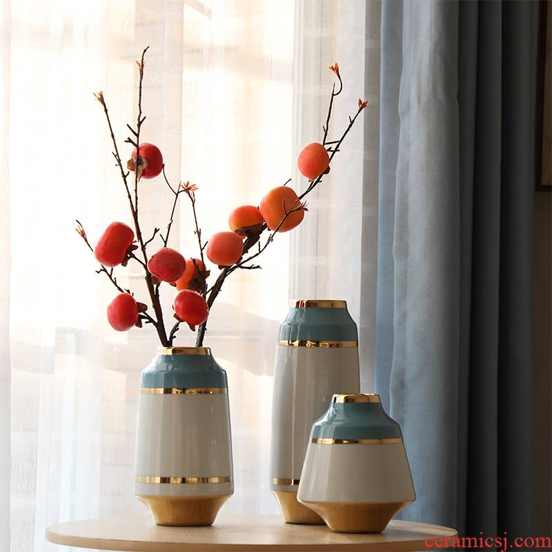 Modern American jingdezhen ceramic vase Jane furnishing articles flower arranging small sitting room and fresh ground decoration household act the role ofing is tasted